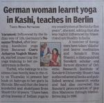 "Times of India ""German woman lerns yoga in Kashi, teaches in berlin"""